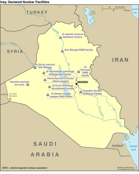 Map of Iraqi Declared Nuclear Facilities