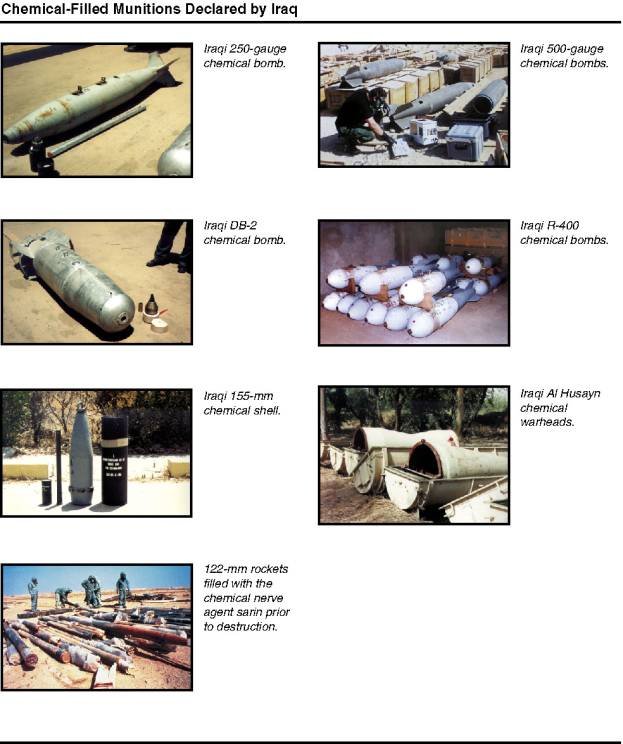 Photographs of chemical-filled munitions declared by Iraq