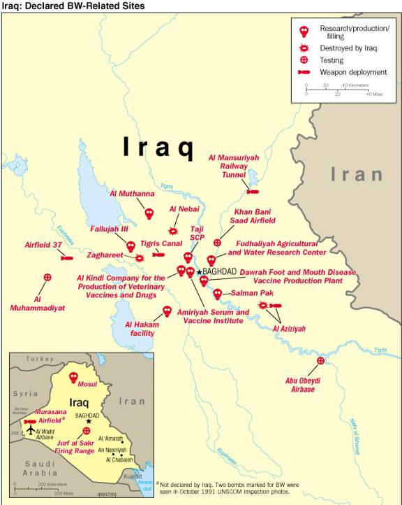 Map of Iraq showing Iraqi declared BW-related sites