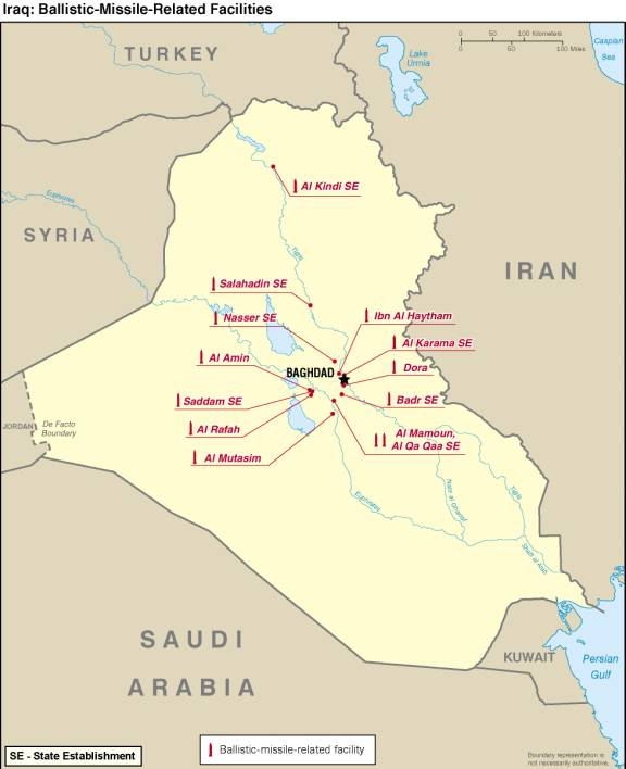 Map of Iraq showing ballistic-missile-related facilities