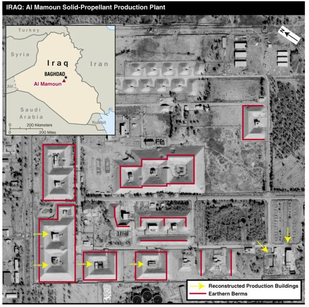 Map of Iraq and satellite image showing Iraq's Al Mamoun solid-propellant production plant