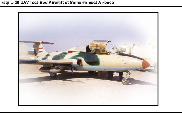 Photograph of an Iraqi L-29 UAV test-bed aircraft at Samarra East Airbase