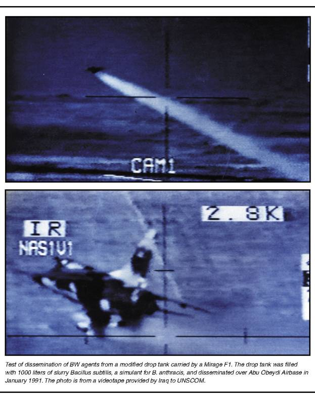 Photographs from a videotape showing a test of dissemination of BW agents from a modified drop tank